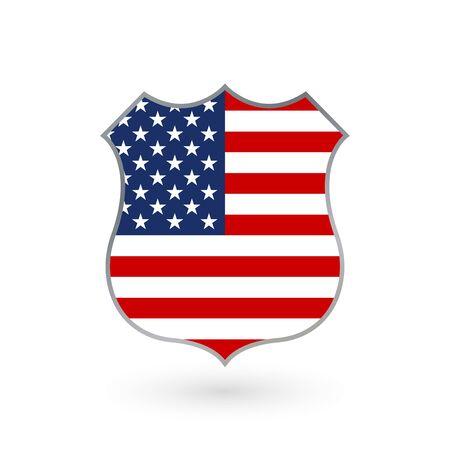 Bandera de Estados Unidos en forma de placa de policía. Icono de la bandera americana. Símbolo nacional de los Estados Unidos de América. Ilustración vectorial. Ilustración de vector