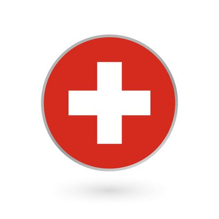 Switzerland flag icon isolated on white background. Swiss round badge. Vector illustration.  イラスト・ベクター素材