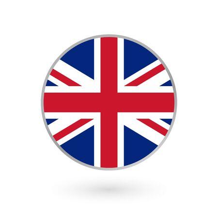 UK flag icon isolated on white background. British round badge. Vector illustration.