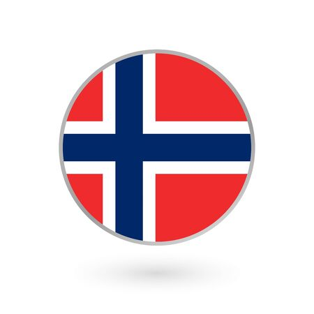 Flag of Norway round icon, badge or button. Norwegian national symbol. Vector illustration. Çizim