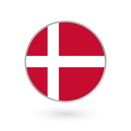 Denmark flag icon isolated on white background. Danish round badge. Vector illustration.  Иллюстрация