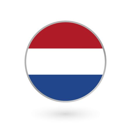 Flag of Holland round icon or badge. The Netherlands circle button. Dutch national symbol. Vector illustration. Иллюстрация