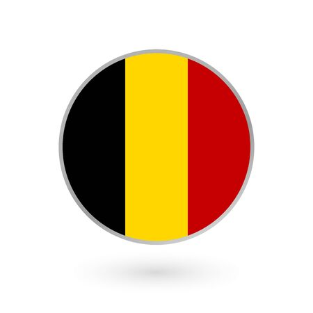 Belgium flag icon isolated on white background. Belgian round badge. Vector illustration.