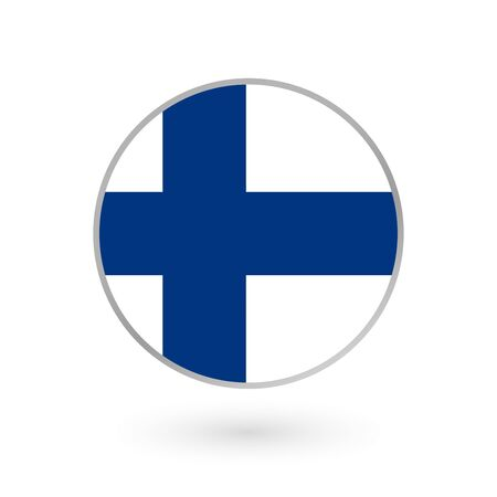 Flag of Finland round icon, badge or button. Finnish national symbol. Vector illustration. Çizim