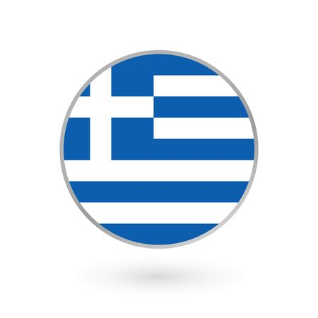 Greece flag icon isolated on white background. Greek round badge. Vector illustration.  Çizim