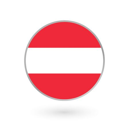 Austria flag icon isolated on white background. Austrian round badge. Vector illustration.