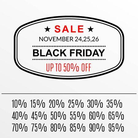 Black Friday discount and sale banner or stamp. 50% price off. Special offer, tag, flyer, promo design element. Illustration