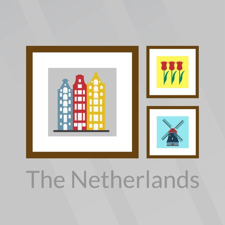 The Netherlands, Holland and Amsterdam pictures: old buildings, tulips and windmill illustration. 向量圖像