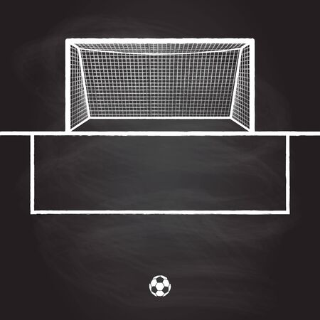 Soccer goal isolated on chalkboard background. Football hand drawn post or gate with net. Vector illustration.