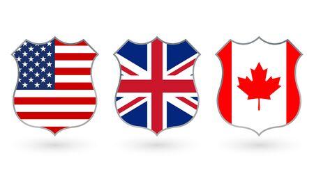 Drapeau des États-Unis, du Canada et du Royaume-Uni sous la forme d'un insigne de police. Symbole national américain, canadien et britannique. Illustration vectorielle.
