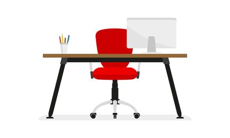 Office desk or table with office chair and computer. Business interior design elements. Vector illustration.