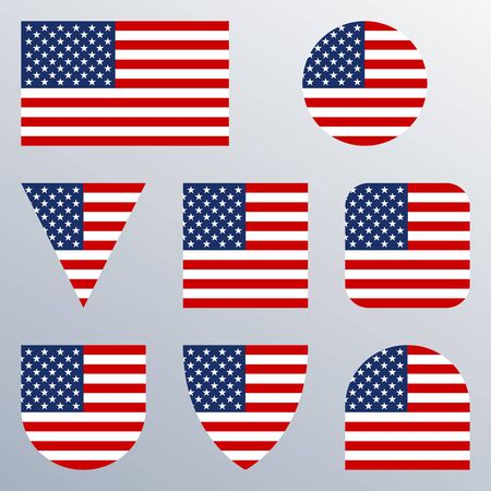 USA flag icon set. American flags in different shapes. United States button collection. Vector illustration.