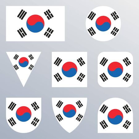 South Korea flag icon set. Korean flag button or badge in different shapes. Vector illustration.