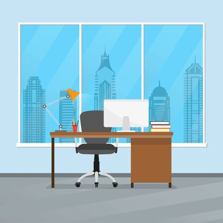 Office desk or table with chair, computer, lamp and pencil stand. Business interior design. Workplace in flat style. Vector illustration.