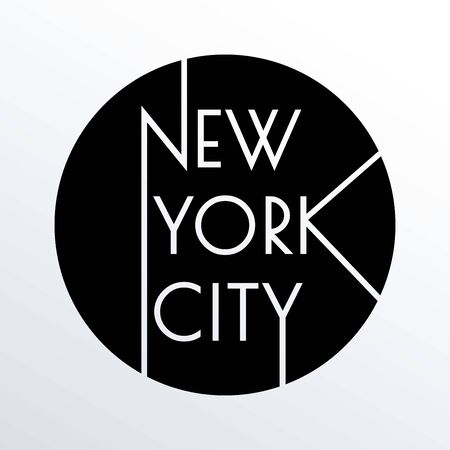 New York city typography design. NYC round banner, poster, sport t-shirt print design and apparels graphic. Vector illustration.