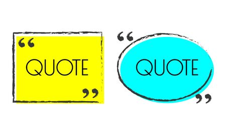 Quote box or frame design. Speech bubble and comment template. Text quotation background. Vector illustration. Ilustração Vetorial