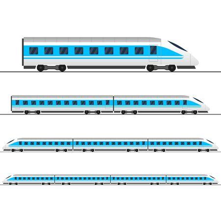 Pociąg. Nowoczesne pasażerskie pociągi ekspresowe. Wagon kolejowy. Wagony kolejowe. Ilustracja wektorowa. Ilustracje wektorowe