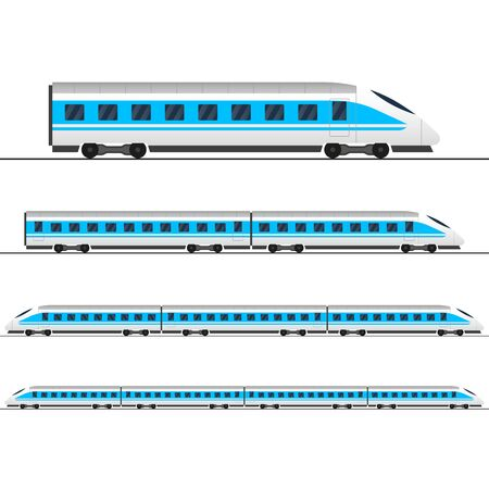 Train. Modern passenger express trains. Railway carriage. Railroad wagons. Vector illustration. Vektorové ilustrace