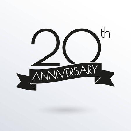 20 years anniversary logo with ribbon. 20th anniversary celebration label. Design element for birthday, invitation, wedding jubilee. Vector illustration.