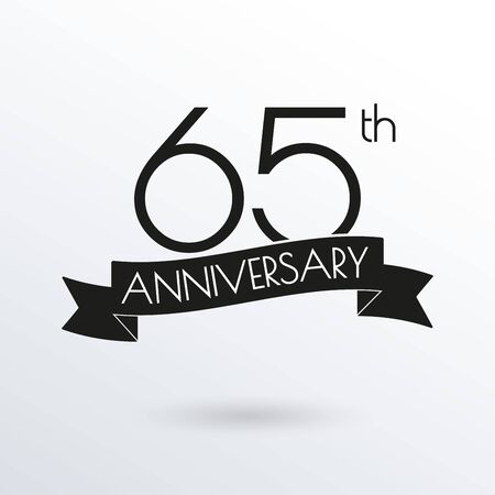65 years anniversary logo with ribbon. 65th anniversary celebration label. Design element for birthday, invitation, wedding jubilee. Vector illustration.