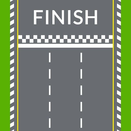 Ligne d'arrivée sur la piste de rallye pour les voitures de course. Vue de dessus. Bannière de piste de vitesse. Fond de route asphaltée vide. Illustration vectorielle.