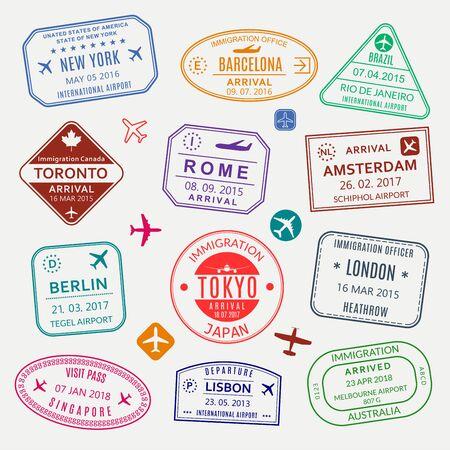 Passport stamp set. Different countries airport visa stamp. Custom control cachet. New York, Rome, Amsterdam, London, Barcelona, Tokyo, Singapore, Lisbon, Berlin immigration sign. Vector illustration.