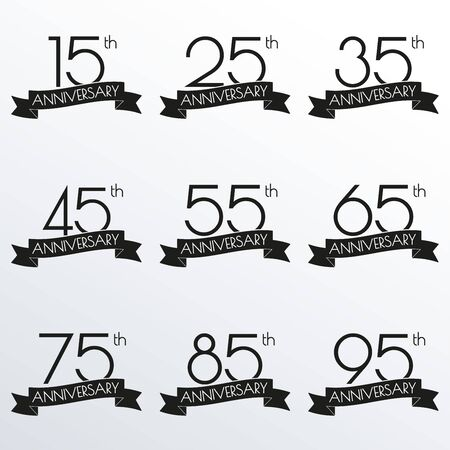 Anniversary logo set. 15,25,35,45,55,65,75,85,95 anniversary celebration label with ribbon. Design elements for birthday, invitation, wedding jubilee. Vector illustration. Illustration