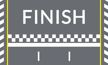 Finish line on the rally track for the racing cars. Top view. Speedway banner. Empty asphalt road background. Vector illustration.