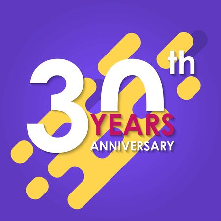 30 years anniversary isolated on abstract background. 30th anniversary banner. Birthday, celebration, party, invitation card design element. Vector illustration.