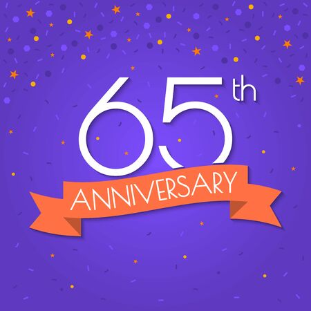 65 years anniversary isolated on confetti background. 65th anniversary banner with ribbon. Birthday, celebration, party, invitation card design element. Vector illustration. Illustration