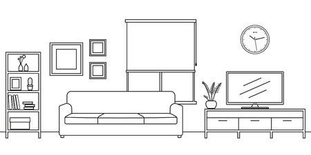 Croquis de contour intérieur de salon. Mobilier de style ligne : canapé, étagère, étagère TV, pot de fleurs, tableaux au mur. Illustration vectorielle.