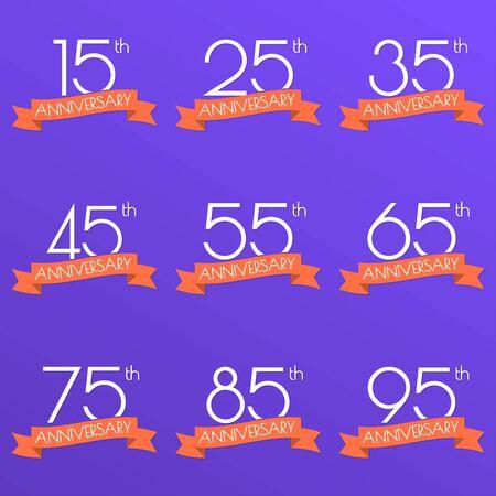 Anniversary logo set. 15,25,35,45,55,65,75,85,95 anniversary celebration label with ribbon. Design elements for birthday, invitation, wedding jubilee. Vector illustration.  イラスト・ベクター素材