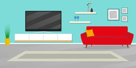 Living room interior. Modern room furniture. Interior design with sofa, TV shelf, flowerpot, pictures on the wall, carpet. Vector illustration.  イラスト・ベクター素材