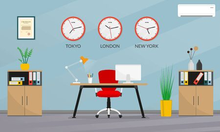 Office interior design. Modern business workspace with office chair, desk, computer, bookcase and wall clock set with different time zones. Vector illustration.