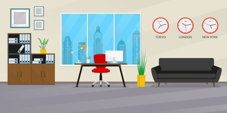 Office interior design. Modern business workspace with office chair, desk, computer, bookcase, window, sofa and wall clock set with different time zones. Vector illustration.
