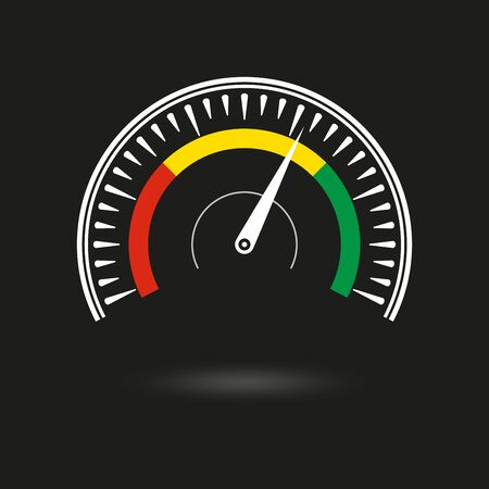 Speedometer icon. Gauge and rpm meter logo. Vector illustration.