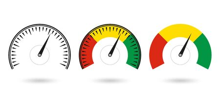 Speedometer icon set. Gauge and rpm meter logo. Vector illustration.