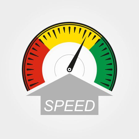 Speedometer icon. Speed symbol. Gauge and rpm meter logo. Vector illustration.
