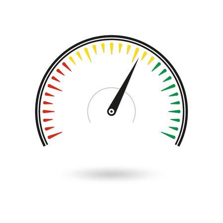 Icône de compteur de vitesse. Jauge et tr/min . Illustration vectorielle.