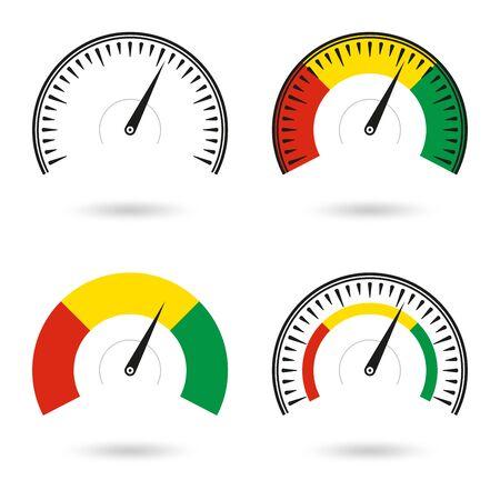 Speedometer icon set. Gauge and rpm meter . Vector illustration.