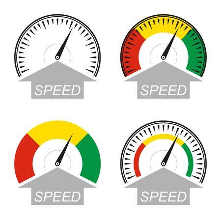 Speedometer icon set. Speed symbol. Gauge and rpm meter . Vector illustration.  イラスト・ベクター素材