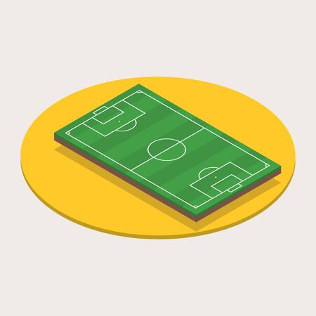 Isometric football or soccer field. 3d sport field with green grass. Vector illustration.  イラスト・ベクター素材