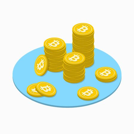 Bitcoin isometric concept with golden coins stack. Crypto currency bit coin and web money . Vector illustration.