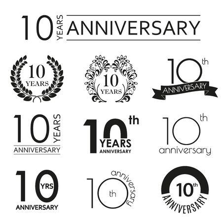 10 years anniversary icon set. 10th anniversary celebration . Design elements for birthday, invitation, wedding jubilee. Vector illustration.