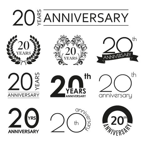 20 years anniversary icon set. 20th anniversary celebration . Design elements for birthday, invitation, wedding jubilee. Vector illustration.