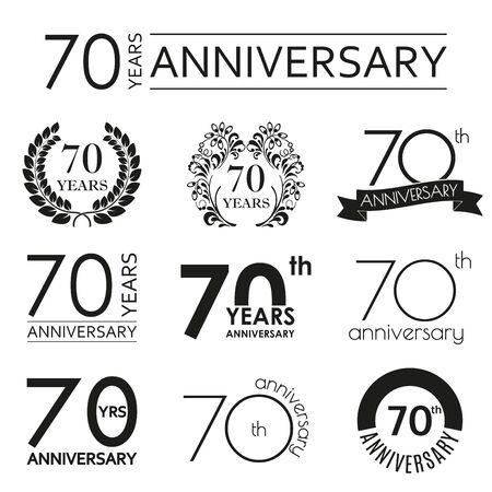 70 years anniversary icon set. 70th anniversary celebration logo. Design elements for birthday, invitation, wedding jubilee. Vector illustration.  イラスト・ベクター素材