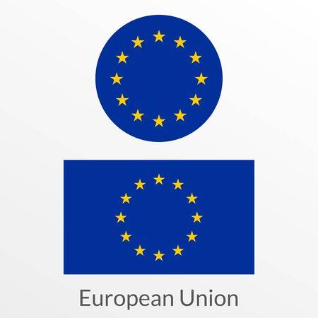 European Union flag icon, badge or button. EU circle symbol. Vector illustration.  イラスト・ベクター素材