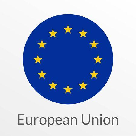 European Union flag round icon, badge or button. EU circle symbol. Vector illustration.