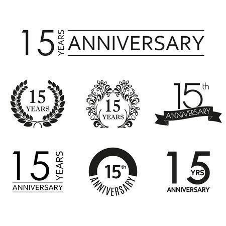 15 years anniversary icon set. 15th anniversary celebration logo. Design elements for birthday, invitation, wedding jubilee. Vector illustration.