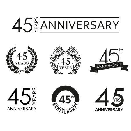 45 years anniversary icon set. 45th anniversary celebration logo. Design elements for birthday, invitation, wedding jubilee. Vector illustration.